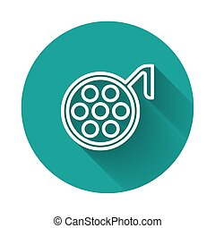White line Surgery lamp icon isolated with long shadow. Green circle button. Vector Illustration