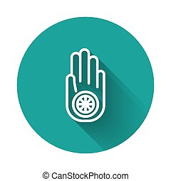 White line Symbol of Jainism or Jain Dharma icon isolated with long shadow. Religious sign. Symbol of Ahimsa. Green circle button. Vector Illustration