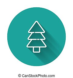 White line Tree icon isolated with long shadow. Forest symbol. Green circle button. Vector Illustration