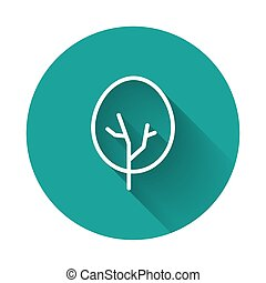 White line Tree icon isolated with long shadow. Forest symbol. Green circle button. Vector