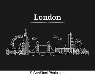 White linear London city skyline with famous buildings, tourism england landmarks
