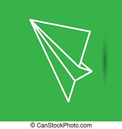 white linear paper plane icon on the green background
