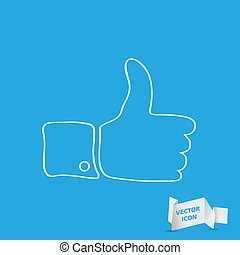 white linear thumbs up sign on blue background