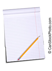 White lined legal notepad and a pencil isolated over white...