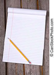 White lined legal notepad