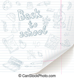 White lined paper sheet with back to school doodles with curved bottom