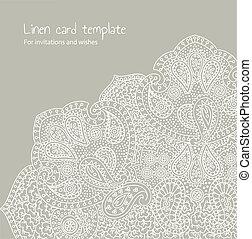 White linen brocade - card template
