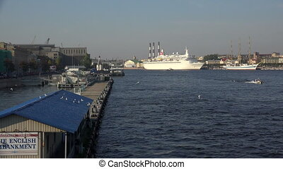White liner ship at the pier in St. Petersburg.