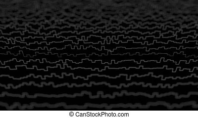 White lines forming distorted field visualization on black background. Abstract CG 3D animation loop, side view with depth of field effect.