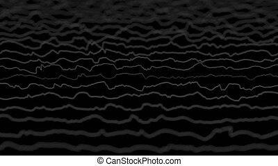 White lines forming distorted field visualization on black background. Abstract CG 3D animation, side view with depth of field effect.