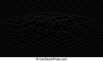 White lines forming distorted surface on black background. Abstract CG seamless loop animation. 3d rendering.