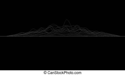 White lines forming distorted surface on black background. Abstract CG seamless loop animation, side view. 3D rendering.