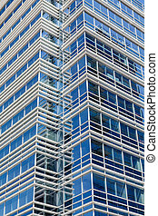 White Lines on Blue Glass Tower
