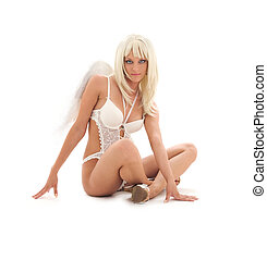 white lingerie angel
