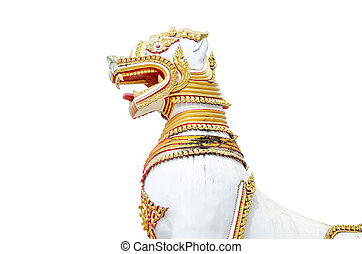 White lion statue on isolated background