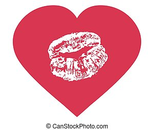 White lips print in shape of red heart. Love sign, wedding invitation, Valentine card, etc. Vector illustration.