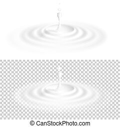 White liquid drop with ripple surface. EPS 10 vector file ...