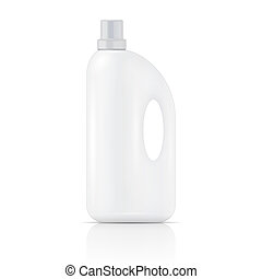 White plastic bottle for liquid laundry detergent, cleaning agent, bleach or fabric softener. Packaging collection. Vector illustration.