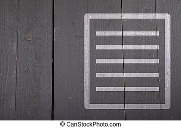 White list on black wooden background
