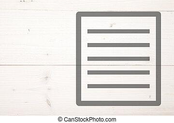 White list on white wooden background