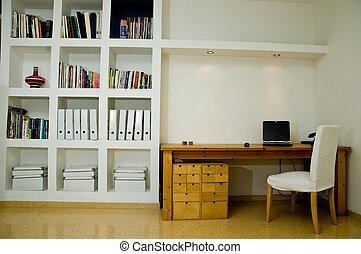 white living room computer and brown desk interior design