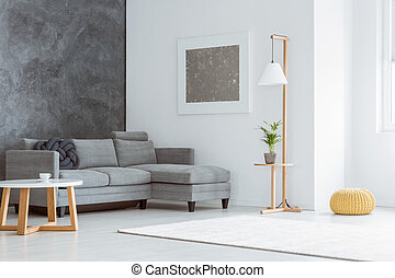 White living room, gray accent