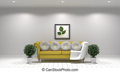 White living room interior design, Yellow fabric sofa ,lamp and plants and frame on empty white wall .3D rendering