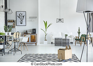 White living room interior - White and spacious living room ...