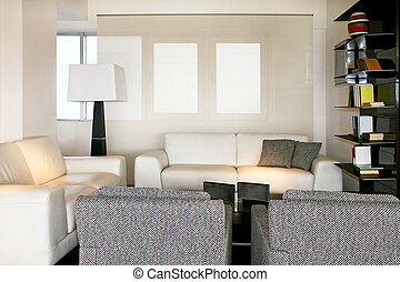 White living room - Living room with two sofas and armchair...