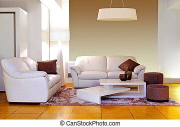 White living room - Modern living room with white...