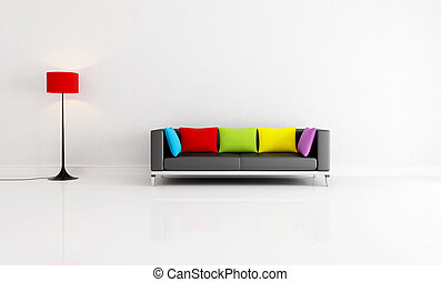 white minimalist living room with black couch with colored cushion - rendering