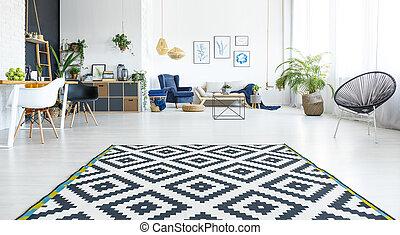 White living room with carpet