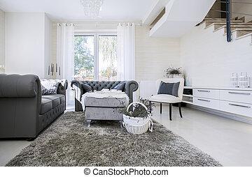 White living room with grey sofas - Big white living room ...