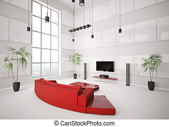 White living room with red sofa interior 3d