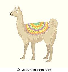 White llama alpaca animal wearing bright ornamented poncho,...