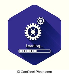 White Loading and gear icon isolated with long shadow. Progress bar icon. System software update. Loading process symbol. Purple hexagon button. Vector Illustration