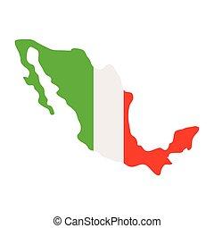 white lobogó, mexikó, háttér, térkép