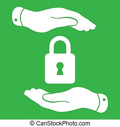 white lock icon in flat hands isolated on green background- vect