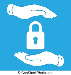 white lock icon in flat hands isolated on white background- vect