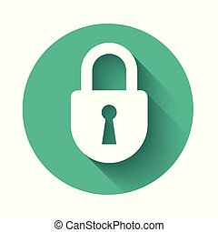 White Lock icon isolated with long shadow. Padlock sign. Security, safety, protection, privacy concept. Green circle button. Vector Illustration