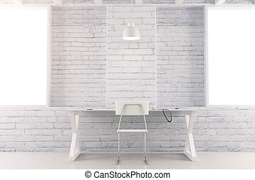White loft interior room with table, chair and brick wall
