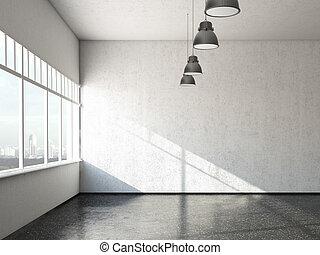 white loft room with windows
