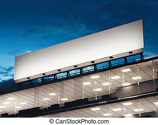 White long billboard standing on a office building. 3d rendering