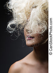 White Long Curly Wild Hair. Fashion Woman Portrait.