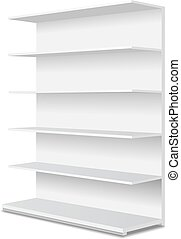 White long empty showcase displays with retail shelves....