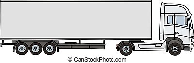 White long semitrailer - Hand drawing of a white long...
