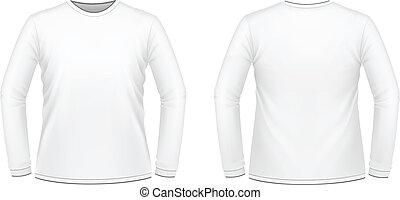 37b35bf9 Men's long sleeved t-shirt template, black white. Vector ...