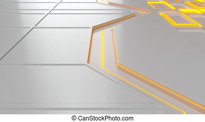 White looped futuristic background with orange glowing lines and elements