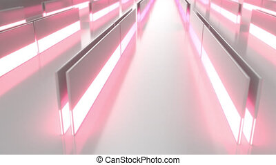 White looped futuristic background with red glowing lines and elements
