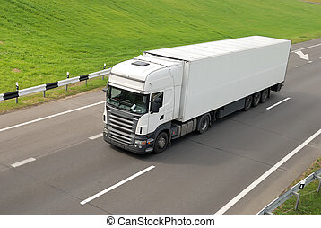 white lorry with trailer (upper view) - upper view of white...